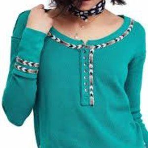Free People Green Embroidered Thermal Long Sleeve